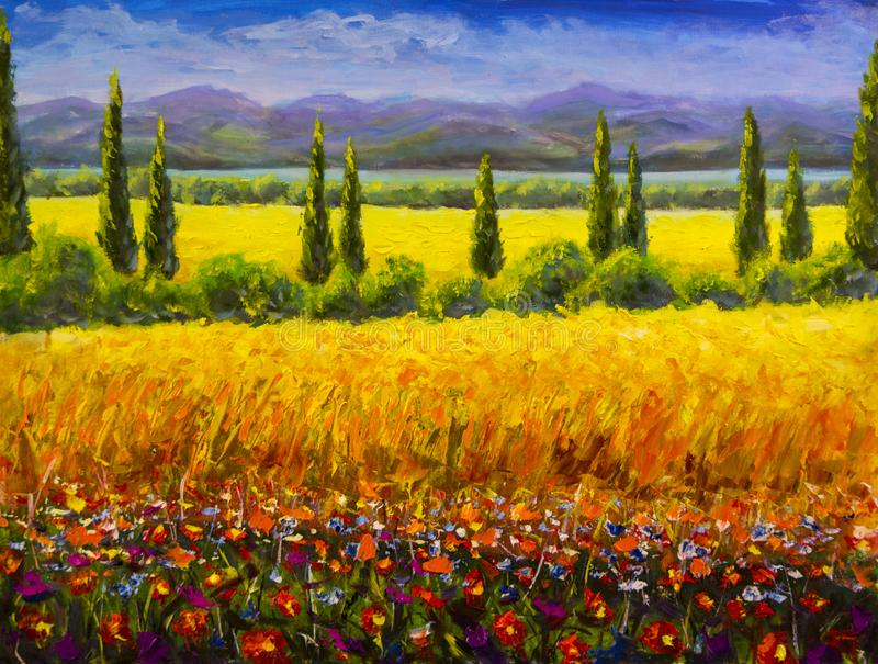 Oil painting Italian summer tuscany landscape, green cypresses bushes, yellow field, red flowers, mountains and blue sky artwork o. Oil painting Italian summer royalty free stock image