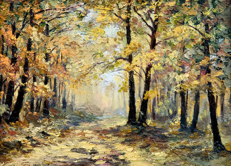Oil painting landscape - autumn forest, full of fallen leaves. Colorful picture , abstract drawing, wallpaper; tree; decoration vector illustration