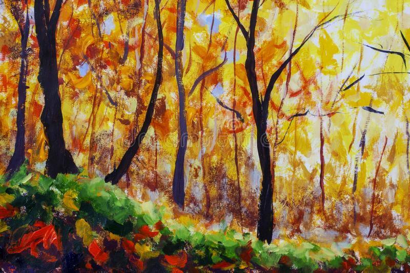 Oil painting landscape - colorful autumn forest royalty free stock photo
