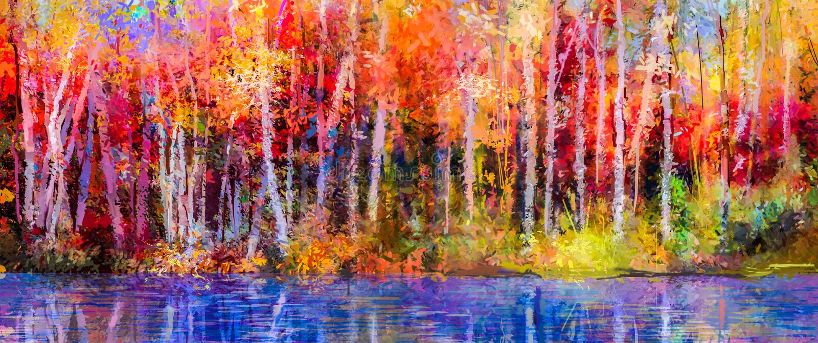 Oil painting landscape - colorful autumn trees. Oil painting colorful autumn trees. Semi abstract image of forest, aspen trees with yellow - red leaf and lake