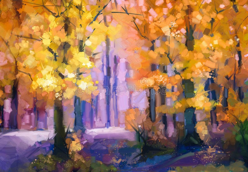 Oil painting landscape - colorful autumn trees royalty free illustration