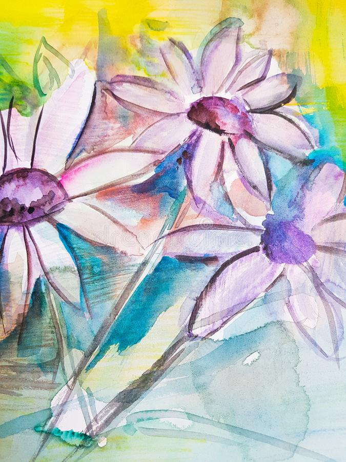 Abstract chamomile flower painting background. Artwork. stock illustration