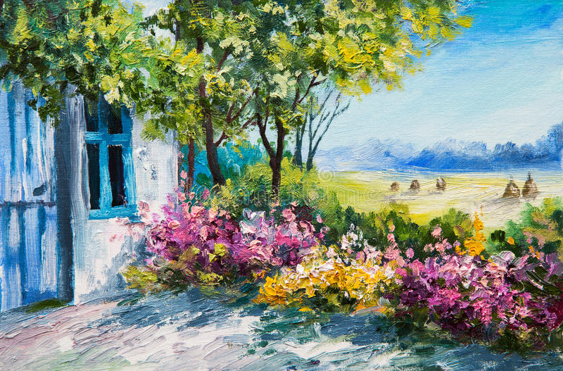 Oil painting landscape - garden near the house, colorful flowers royalty free illustration