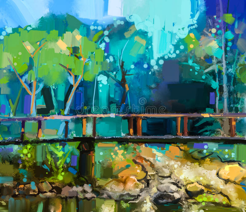 Oil painting landscape with wooden bridge over creek in forest vector illustration