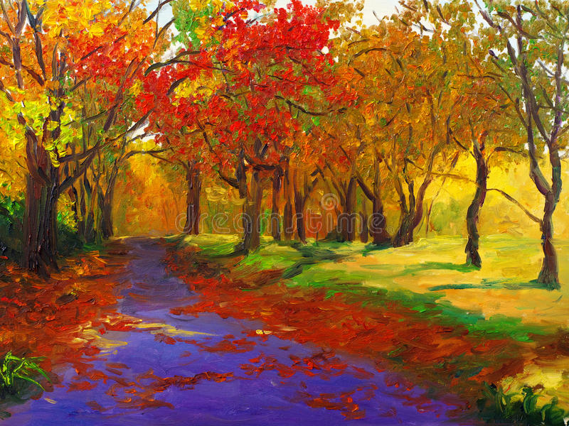 Oil Painting - Maple in Autumn stock illustration