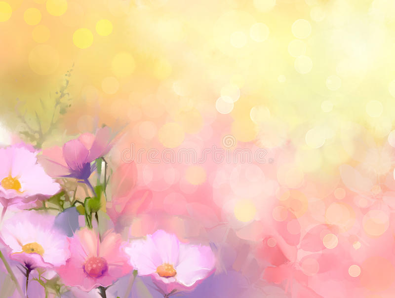 Oil painting nature grass flowers. Hand paint close up pink cosmos flower stock illustration