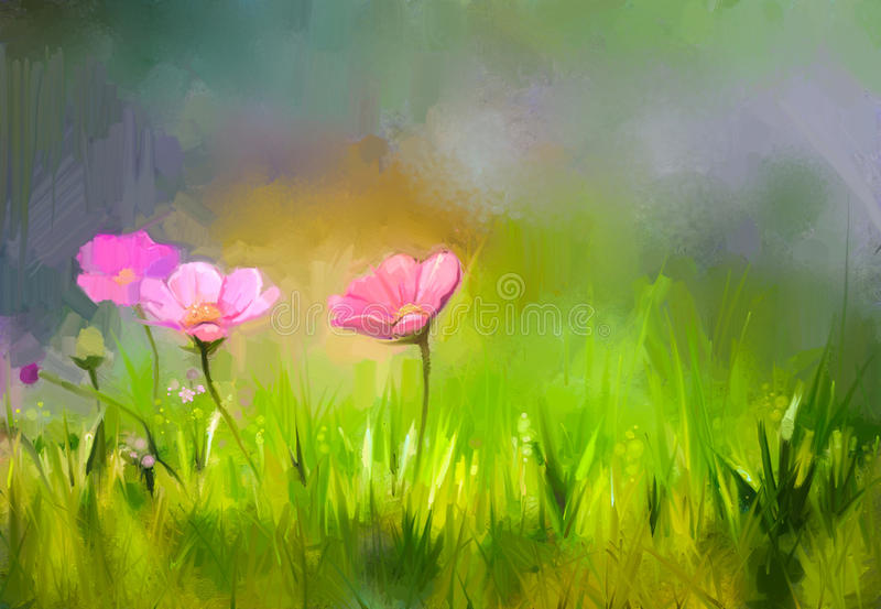 Oil painting nature grass flowers- pink cosmos flower stock illustration