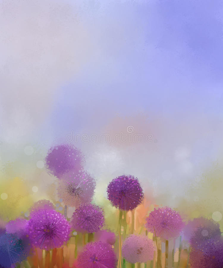 Oil painting,Pastel colors light purple onion flower in the meadows vector illustration