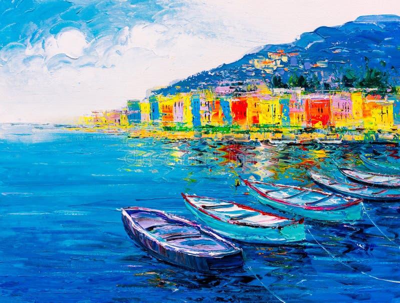 Oil Painting - Porto Venere, Italy stock photo