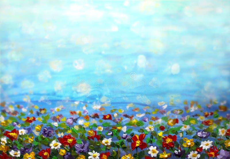 Painting purple cosmos flower, white daisy, cornflower, wildflower. Flowers meadow, green field paintings. Hand painted floral and. Oil painting purple cosmos royalty free stock image
