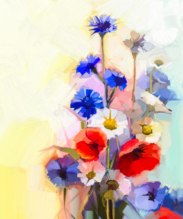 Oil painting red poppy flowers, blue cornflower and white daisy vector illustration