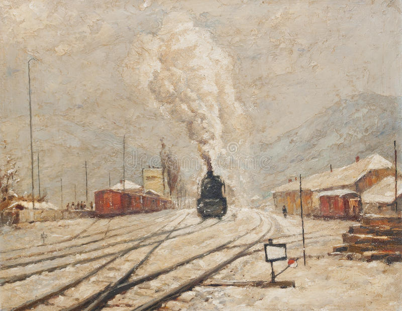 Download Oil Painting Representing Old Train Station Stock Illustration - Image: 18127964