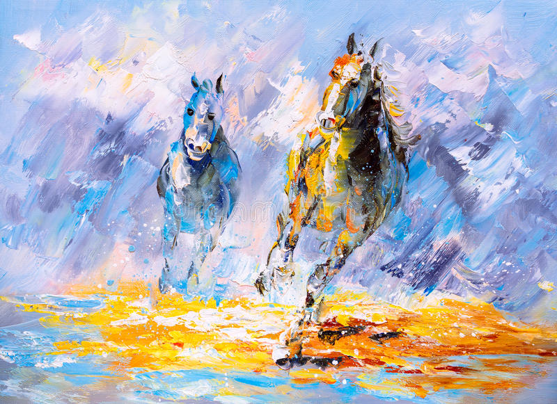 Oil Painting - Running Horse stock illustration