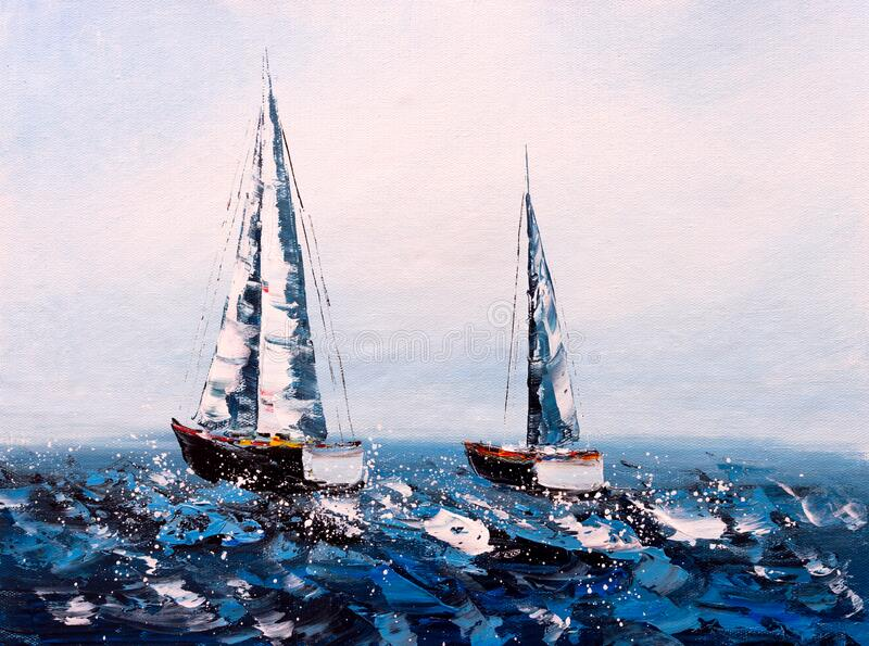 Oil Painting - Sailing Boat stock photos
