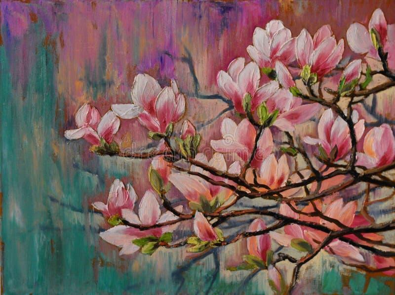 Oil painting - sakura branch on abstract background, art drawing stock illustration