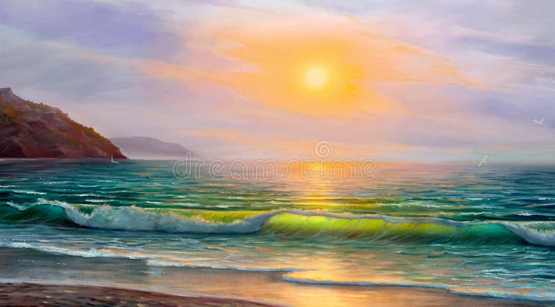 Oil painting of the sea on canvas. Blue, tropical sea and beach.Wave, illustration, oil painting on a canvas stock photos