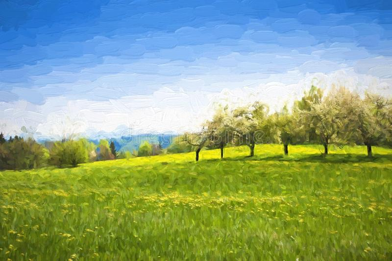 Oil painting spring landscape - green meadow and fruit trees. Original oil painting on canvas royalty free illustration