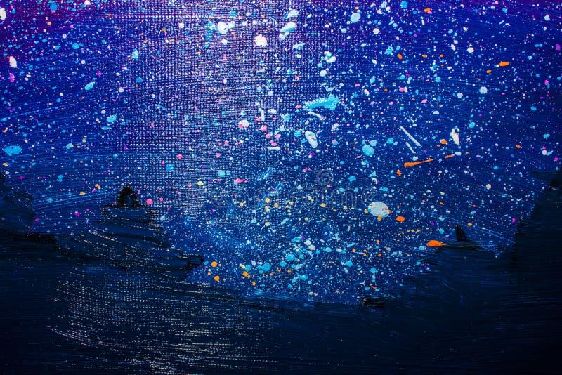 Oil painting, starry night beautiful sky. Background. Oil painting, starry night beautiful sky stock photo