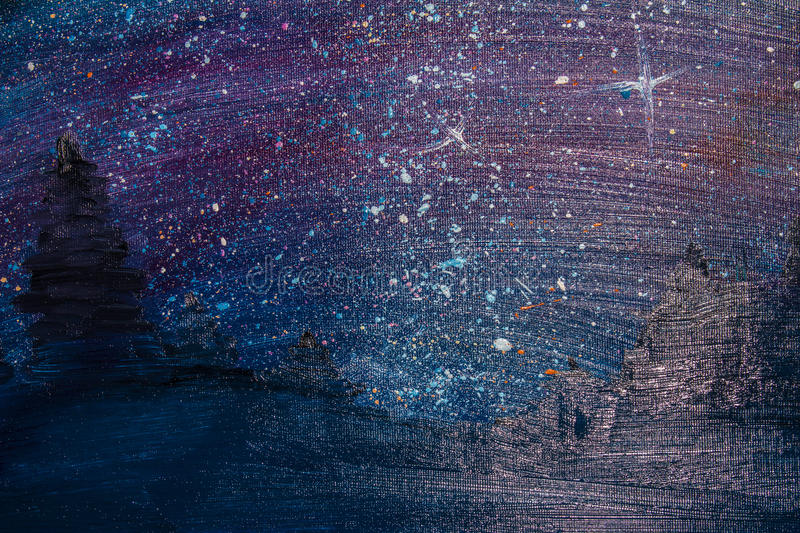 Oil painting, starry night beautiful sky. Background. Oil painting, starry night beautiful sky royalty free stock photos