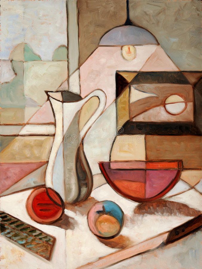 Oil Painting of Still Life With Pitcher stock photography