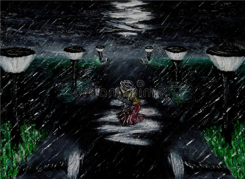 Oil painting of a street at night illuminated by the streetlights and the moon with a couple of lovers kissing in the heavy rain royalty free illustration