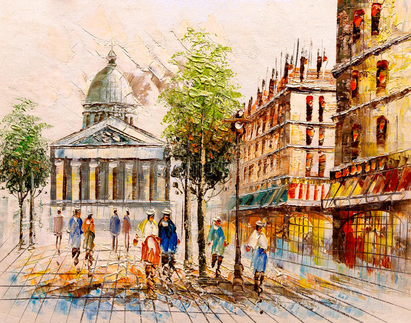 Oil Painting - Street View of Paris stock illustration
