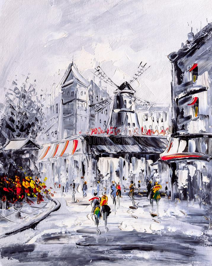 Oil Painting - Street View of Paris royalty free stock photos