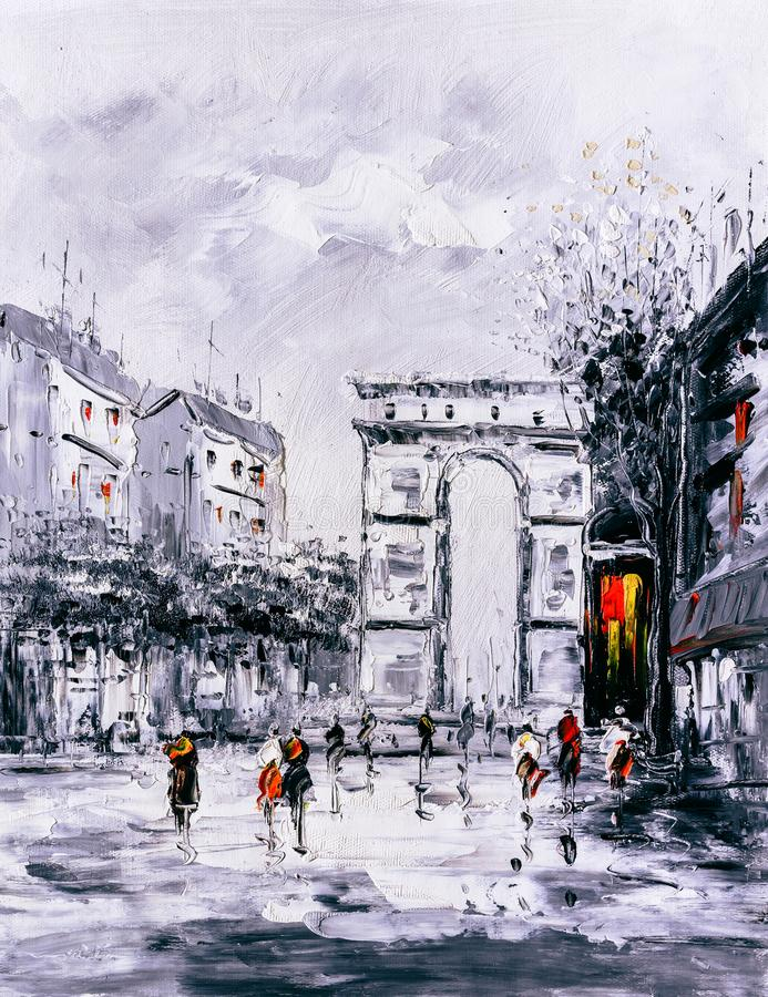 Oil Painting - Street View of Paris stock photo