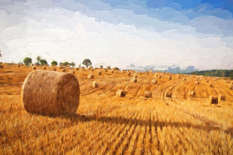 Oil painting summer landscape - hay bales on the field after harvest. vector illustration