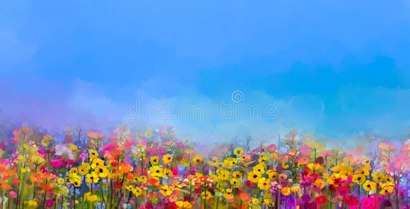 Oil painting of summer-spring flowers. Cornflower, daisy flower vector illustration
