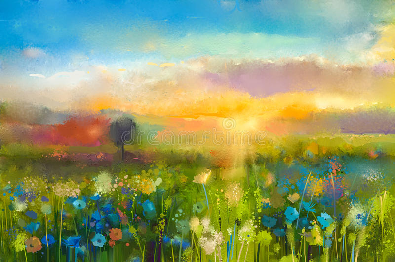 Oil painting sunset meadow landscape with wildflower. Oil painting flowers dandelion, cornflower, daisy in fields. Sunset meadow landscape with wildflower, hill royalty free illustration