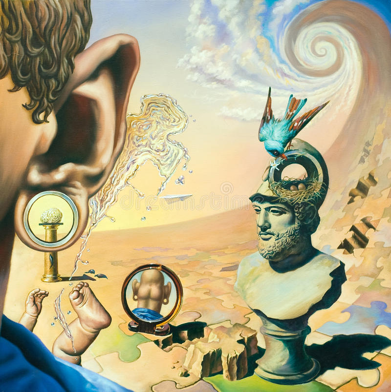 Oil Painting on surrealism. Original oil painting on canvas. In the style of Surrealism. The picture in full size vector illustration