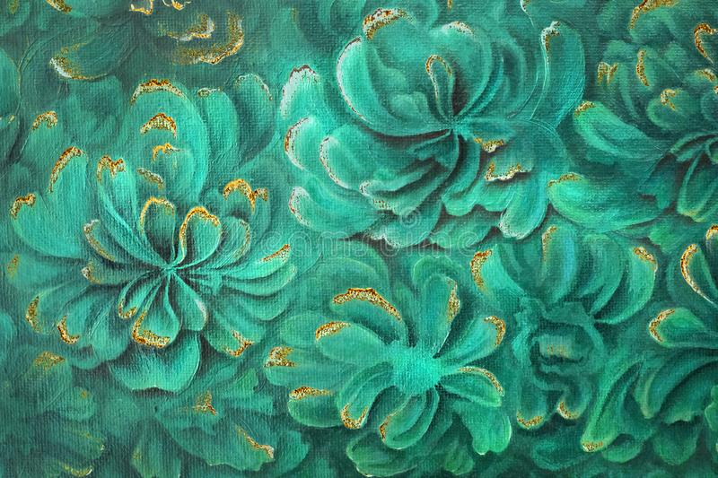 Abstract malachite green peony flowers with golden streaks and rust royalty free illustration