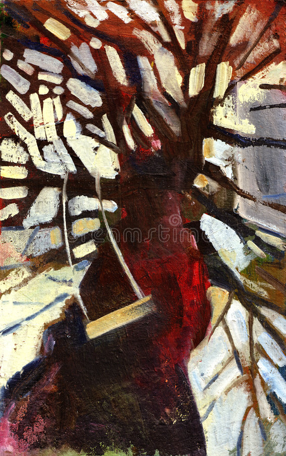 Oil painting tree stock photos
