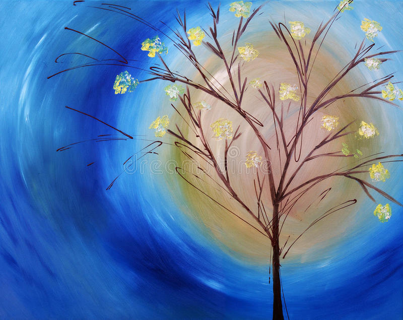 Oil painting of tree against blue sky vector illustration