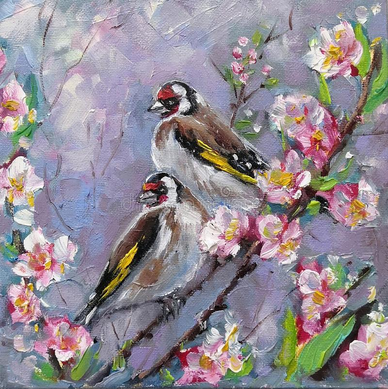 Oil painting of two goldfinch bird and flowers, oil on canvas. Couple Goldfinches Sitting on the Flower Branch Hand Painted Floral royalty free stock images