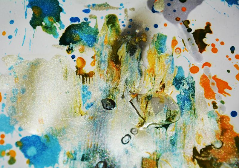 Oil painting watercolor orange blue wax vivid spots, abstract creative background stock images