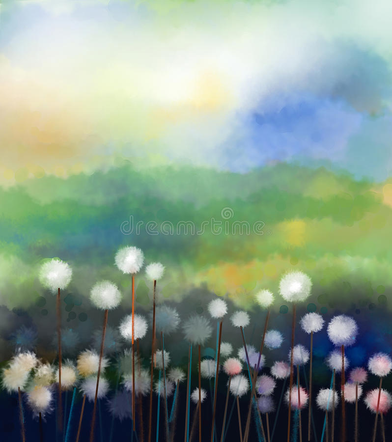 Oil painting white flowers field in soft color. Abstract oil painting white flowers field in soft color. Oil paintings white dandelion flower in the meadows stock illustration