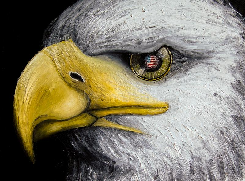 Oil painting of a white-headed eagle with the American flag reflected in its golden eye, isolated on black background, holidays vector illustration