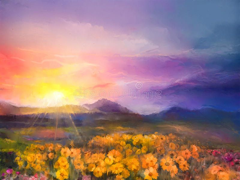 Oil painting yellow- golden daisy flowers in fields. Sunset mead. Ow landscape with wildflower, hill and sky in orange and blue violet color background. Hand stock photo