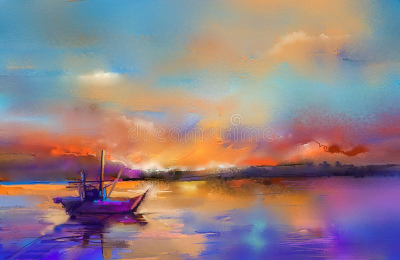 Oil paintings seascape with boat, sail on sea. Colorful oil painting on canvas texture. Impressionism image of seascape paintings with sunlight background stock illustration