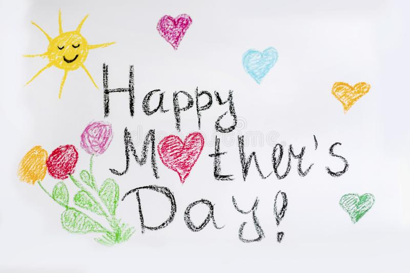 Oil Pastel Childlike Drawing Happy Mothers`s Day Card royalty free stock photos
