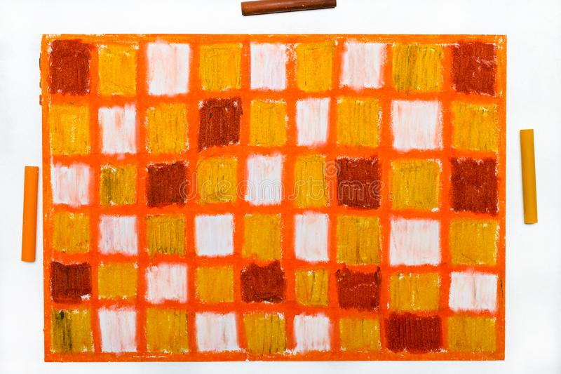 Oil pastels drawing with squares stock photography