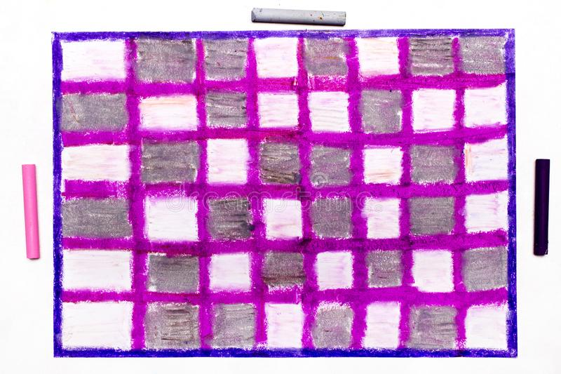 Oil pastels drawing with squares stock image