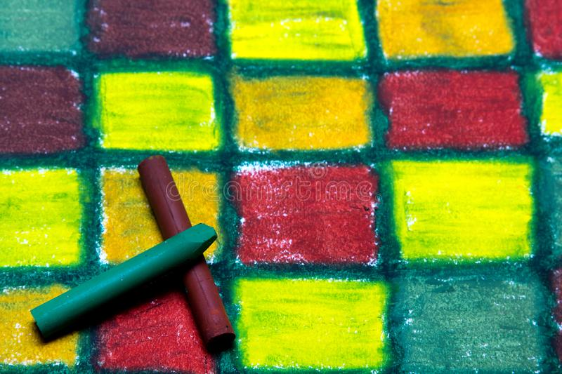 Oil pastels drawing with squares royalty free stock photos