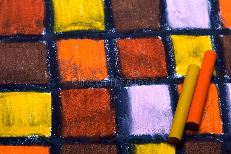 Oil pastels drawing with squares stock images
