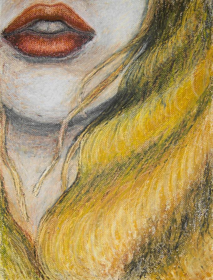 Oil pastels painting on canvas of woman with orange lips and long blond hair, drawing of closeup of face, mouth stock illustration