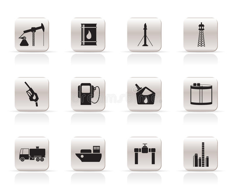 Oil And Petrol Industry Icons Royalty Free Stock Image