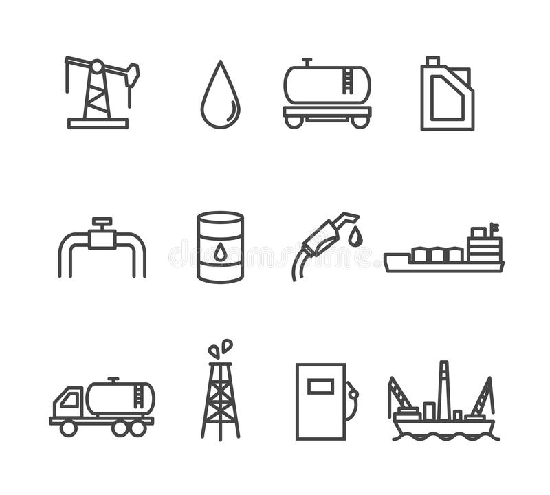 Oil and petrol industry line icon set. Tanker and fuel, energy industry, vector illustration stock illustration