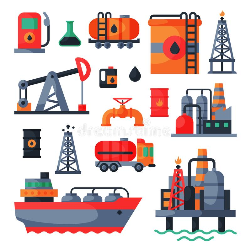 Oil petroleum extraction processing transportation recovery industry refinery fuel gas drilling industrial pump vector vector illustration